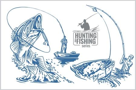 Fisherman and fish -  vintage two color illustration Illustration