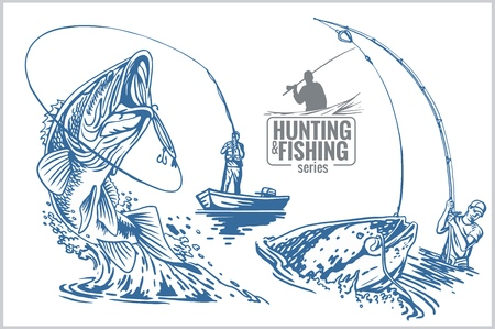 Fisherman and fish -  vintage two color illustration Stock Illustratie