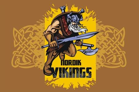 norseman: Viking warrior with big sword - vector emblem