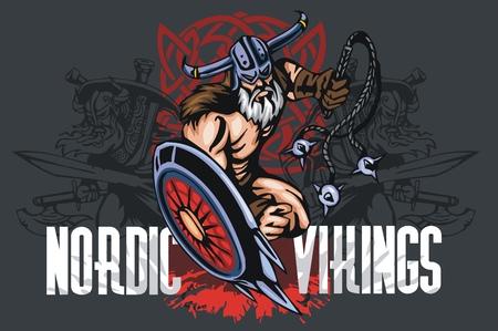 Viking norseman mascot cartoon with bludgeon and shield - vector vintage emblem