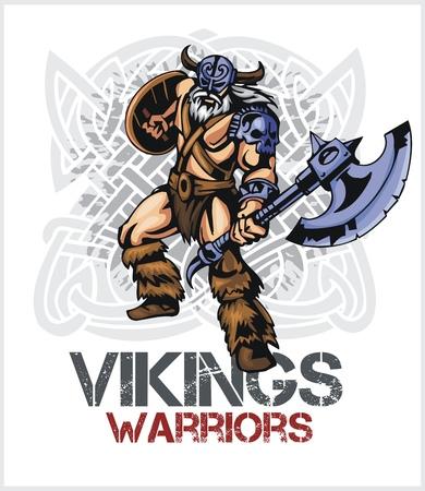 Viking norseman mascot cartoon with ax and shield - vector vintage emblem