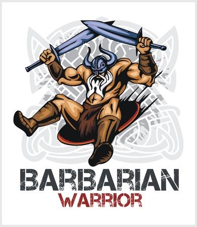 norseman: Viking norseman mascot cartoon with two swords - vector vintage emblem