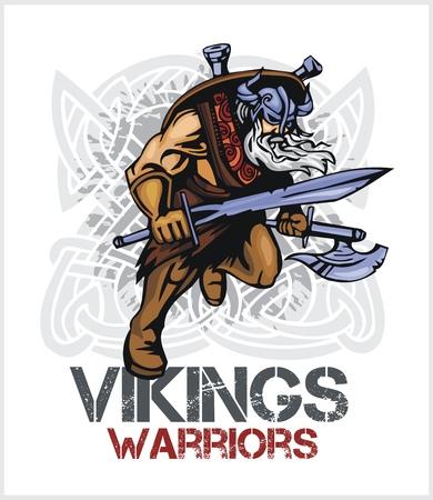 norseman: Viking norseman mascot cartoon with ax and sword - vector vintage emblem