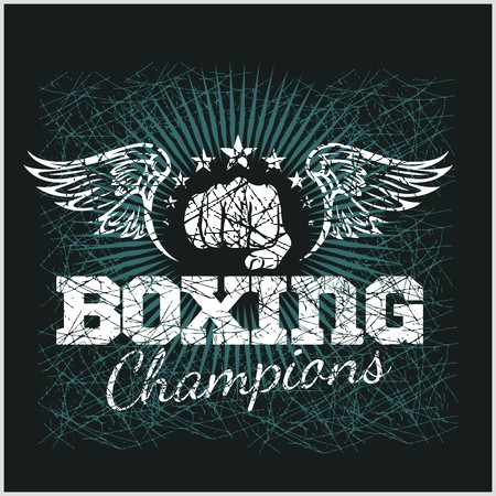 ボクシングのチャンピオン - t シャツのヴィンテージ ベクター アートワーク  イラスト・ベクター素材