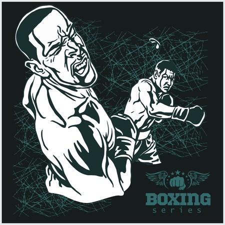 Boxing Match - Retro illustratie op grunge achtergrond