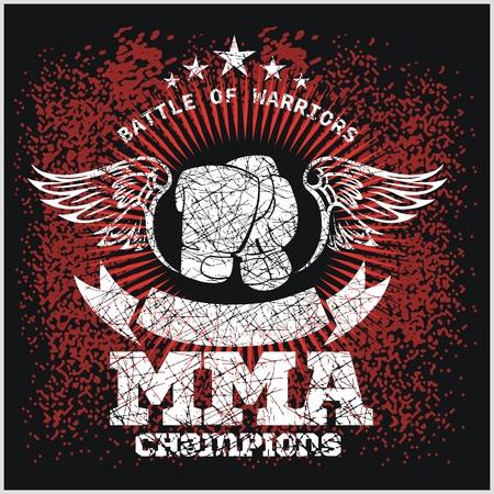 Etiquetas MMA - Vector Artes Marciales Mixtas Diseño.