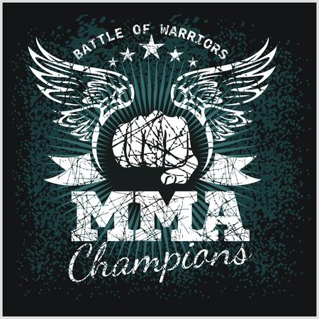 MMA ラベル - ベクトル総合格闘技デザインです。