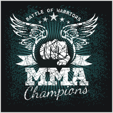 MMA Labels -  Vector Mixed Martial Arts Design. Illustration