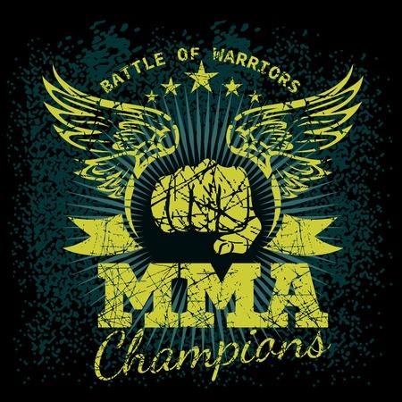 MMA labels on grunge background
