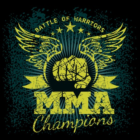 mixed martial arts: MMA labels on grunge background