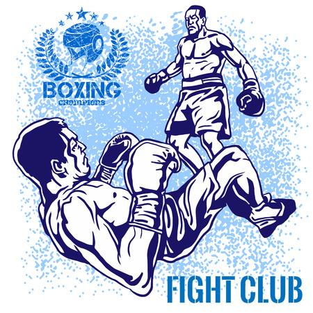 Boxing Match - Retro vector illustration on grunge background.