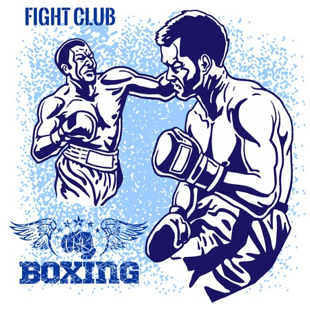 Boxing Match - Retro vector illustratie op grunge achtergrond.