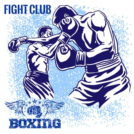 Boxing Match - Retro vector illustratie op grunge achtergrond. Stockfoto - 36901542