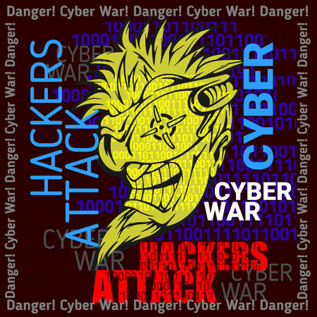 crook: Hackers Attack sign on digital binary background, security concept in vector format Illustration