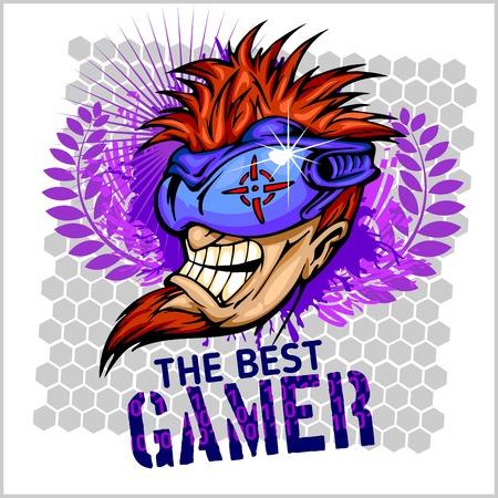 gamer: The Best Gamer -  Emblem for T-Shirt  - Vector Design Illustration