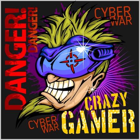 playing video game: Crazy Gamer -  Emblem for T-Shirt  - Vector Design Illustration