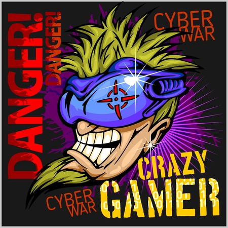 Crazy Gamer -  Emblem for T-Shirt  - Vector Design Stock Illustratie