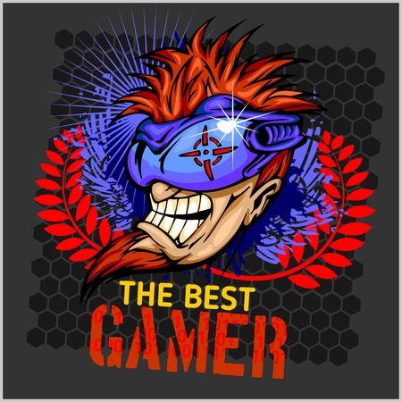The Best Gamer -  Emblem for T-Shirt  - Vector Design Illustration