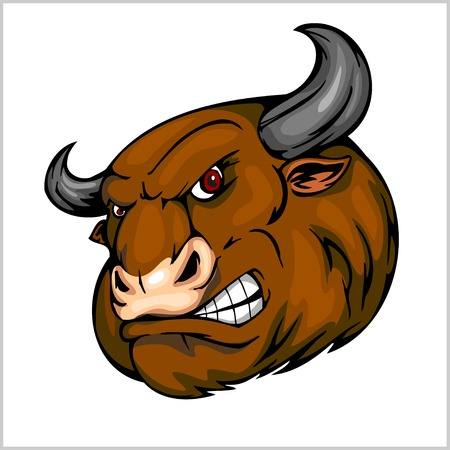 raging: Bull Head Mascot - vector illustration for sport team
