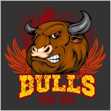 bullock animal: Bull Head Mascot - vector illustration for sport team