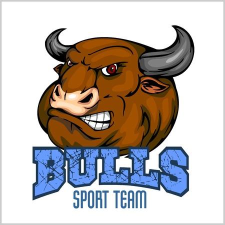 cow teeth: Bull Head Mascot - vector illustration for sport team