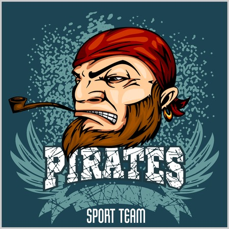 looting: Pirate Mascot with Bandana and pipe