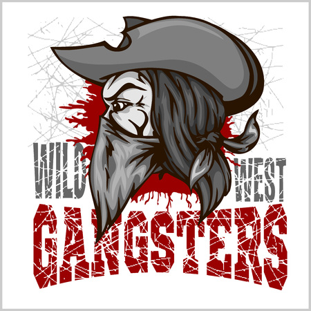 gangster background: Gangster in retro scratch background