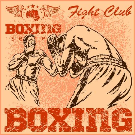 ボクシングの試合 - t シャツ ビンテージ ポスター  イラスト・ベクター素材