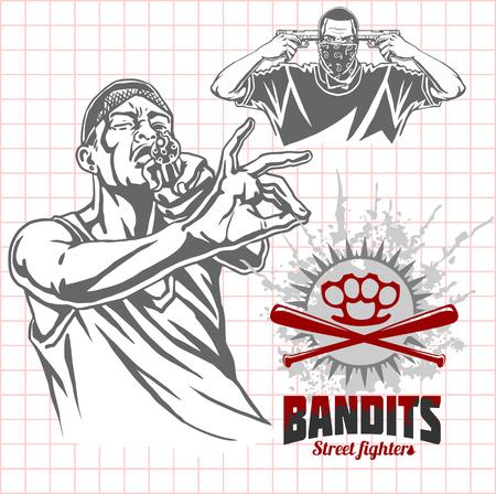 criminal activity: Bandits and hooligans - criminal nightlife. Vector illustration.