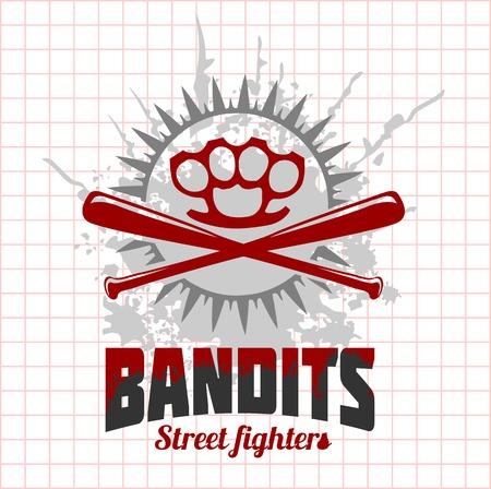 criminal: Bandits and hooligans - criminal nightlife. Vector emblem. Illustration