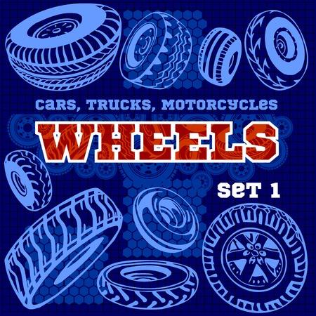 Set of different wheels - vector illustration
