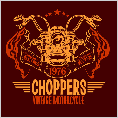 shield with wings: Vintage motorcycle labels, badges and design elements - vector set.