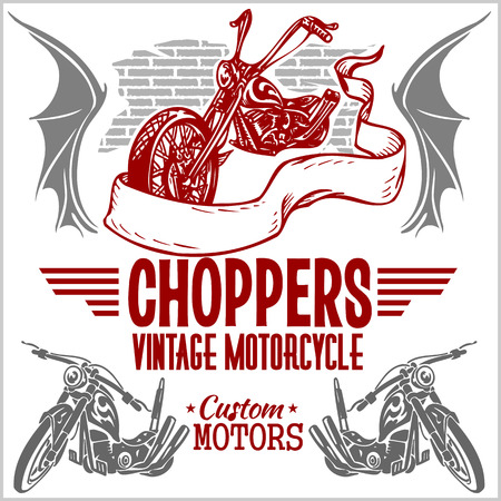 Vintage motorcycle labels, badges and design elements - vector set. Stock Vector - 37543427