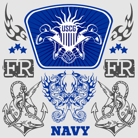 us military: NAVY US Military Design - vector set.