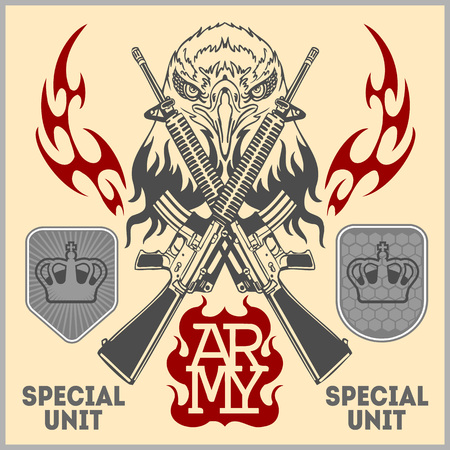 infantry: Special unit military patch - vector illustration