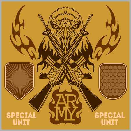 seal gun: Special unit military patch - vector illustration