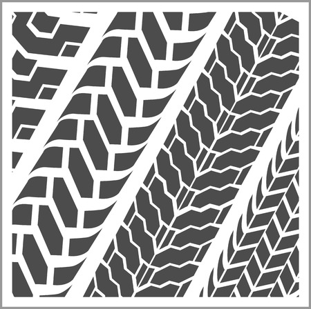 Four dirty tire tracks - vector set Vector