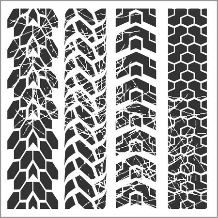 tire imprint: Four dirty tire tracks - vector set Illustration