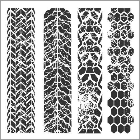 skid: Four dirty tire tracks - vector set Illustration