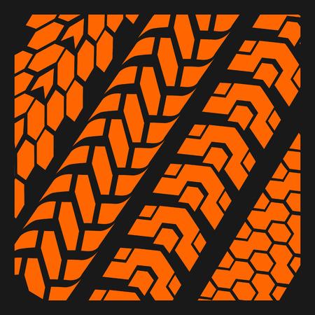 Four dirty tire tracks - vector set Vector