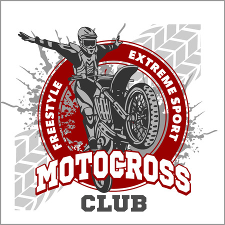 jumping: Motocross sport - vector emblem for t-shirts