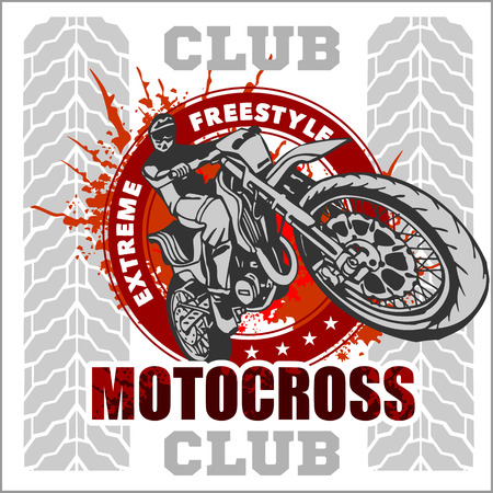 motor sport: Motocross sport - vector emblem for t-shirts