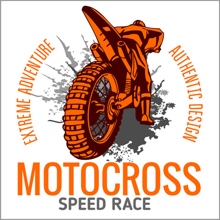 casco moto: Motocross deporte - vector emblema para las camisetas
