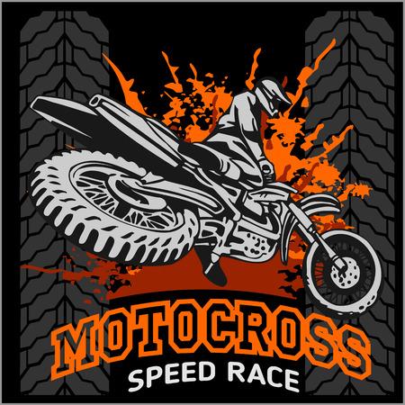 Motocross sport - vector emblem for t-shirts
