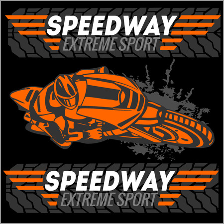 Motorcycle - extreme sport. Vector Emblem for tshirt Vector