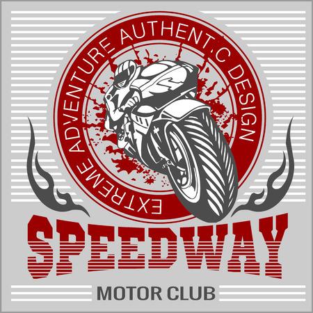 Motorcycle - extreme sport. Vector Emblem for tshirt Illustration