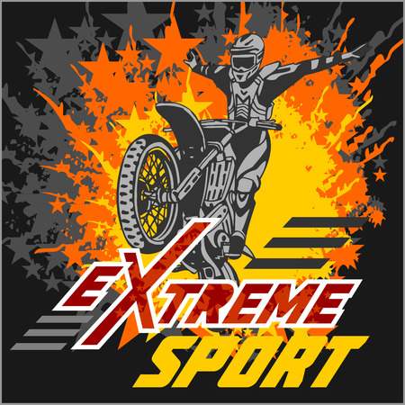 Vector eXtreme sport - motocross and emblem. Illustration