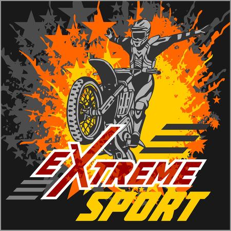 Vector eXtreme sport - motocross and emblem. Çizim