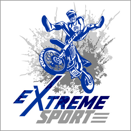Vector eXtreme sport - motocross and emblem. 向量圖像