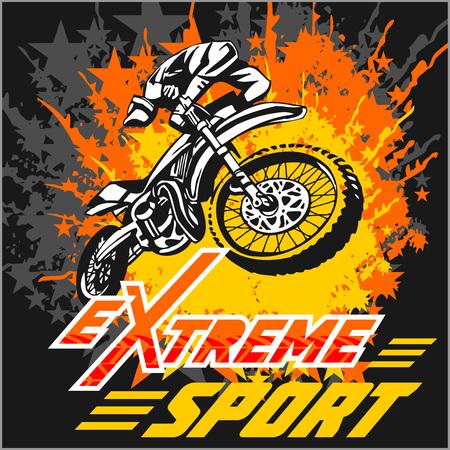 Vector Deporte Extremo - motocross y emblema. Foto de archivo - 38646932